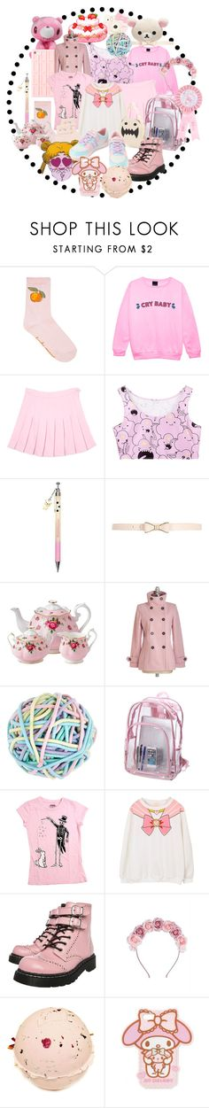 """""""itried.png"""" by princeofbears ❤ liked on Polyvore featuring Hello Kitty, River Island, Royal Albert, Accessorize, Adzhedo, cutekawaii and T.U.K."""