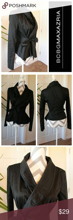 BCBGMaxazria black blazer jacket Stunning feminine blazer, ties in the front and flares out for a more flattering look. Fits a small, material is light with silk lining in certain areas of the jacket. BCBGMaxAzria Jackets & Coats Blazers