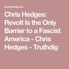 Chris Hedges: Revolt Is the Only Barrier to a Fascist America - Chris Hedges - Truthdig