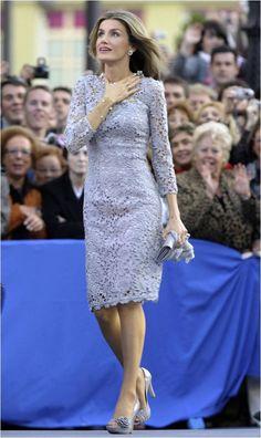 Queen consort Letizia of Spain in silver gray lace