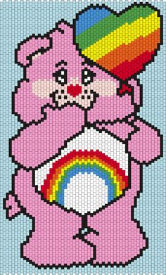 Cheer Bear from the Care Bears (Multi/Brick Stitch Pattern)