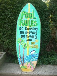 Pool Rules Tropical Surfboard Wall Art Hanging Patio Plaque Sign