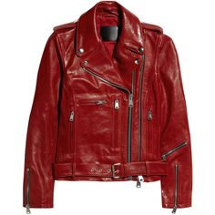 R13 Glossed-leather biker jacket ($699) ❤ liked on Polyvore featuring outerwear, jackets, leather jackets, tops, tomato red, red moto jacket, leather biker jacket, buckle leather jacket, red biker jacket and rider jacket