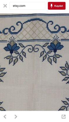 Beautiful blue cross stitch em |