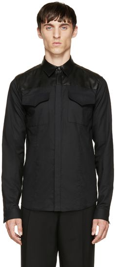 Costume National: Black Leather & Cotton Shirt | SSENSE
