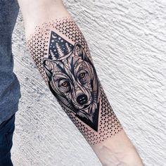 illustrative geometric bear tattoo