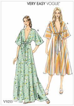 Schnittmuster, Nähen, Kleid nähen Papier-Fertigschnitt, deutsche Anleitung, Vogue 9253 Sommerkleid Gr Y XS-M 6-14 (32-40) oder ZZ L-XXL16-24 (42-50)
