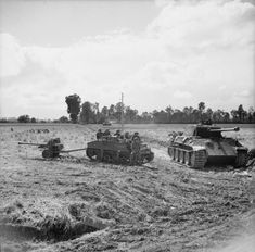 BRITISH ARMY NORMANDY 1944 (B 6045)   A Loyd carrier and 6-pdr anti-tank gun of the Durham Light Infantry, 49th (West Riding) Division parked alongside a knocked-out German Panther tank during Operation 'Epsom', 27 June 1944.