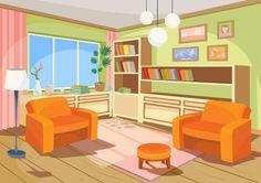 Ilustração do vetor de um interior de desenho animado de uma sala de laranja, uma sala de estar com duas poltronas macias Vetor grátis