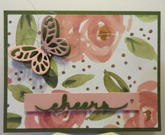 Cheers card created by Lynn Gauthier  using Stampin' Up English Garden DSP, Bold Butterfly Framelits, SU Greetings Thinlits, new SU Washi Label Punch and new SU Metallic Thread.  More Convention 2015 card swaps!!!