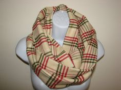 Camel Red Green Plaid Infinity Scarf cream Olive by OtiliaBoutique Plaid Infinity Scarf, Red Green, Autumn Winter Fashion, Camel, Flannel, Unisex, Cream, Trending Outfits, Cotton
