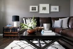 Nuloom Rugs Living Room Contemporary with Abstract Art Artwork Black and White Black Lamp Shade Brown Leather Brown