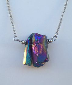Rainbow Crystal Point Necklace  by CombustionGlassworks, $12.00