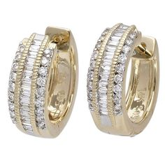 14k Yellow Gold 0.50ct Round, Baguette Diamond Earrings $998.00