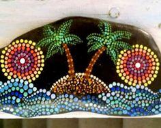 Large Painted Rock ~ Beach Stone ~ Tropical Dot Art Palm Tree Ocean Island ~ Mandala Ombre Sunset Rings Coastal Home Decor ~ Palm Trees