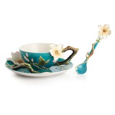 Franz Collection Porcelain Van Gogh Almond Flower Cup & Saucer Set With Spoon