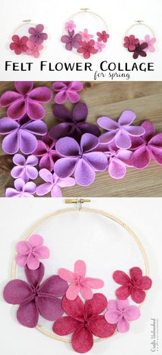 Felt Flower Collage for Spring - Flowers could be made either knitted or crocheted.