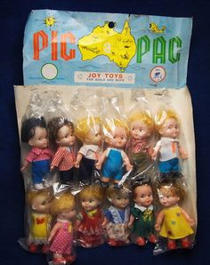 Vintage 1960's Pic Pac Joy Toys ? 12 Dolls on Card Collection