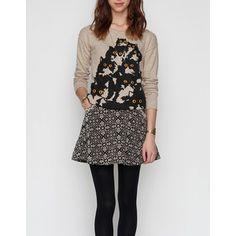 Feline sweater with textured print skirt