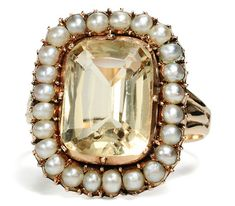 Classic Georgian Citrine and Pearl Ring.