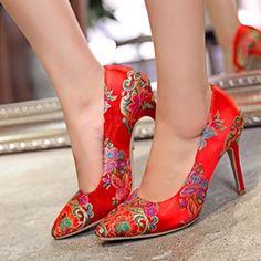 6fd5a79082184 Ericdress Charming Red Ethnic Wedding Shoes Wedding Shoes Online, Cheap  Shoes Online, Stiletto Heels
