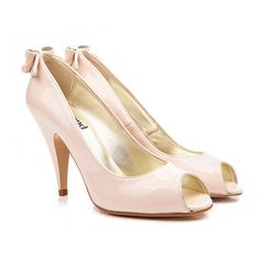 Emily classic high heel vegan court shoe with peep toe and back bow detail | Ivory cream synthetic faux patent non leather pleather | cruelty-free vegan and vegetarian | vegane hohe Schuhe | chaussures vegan