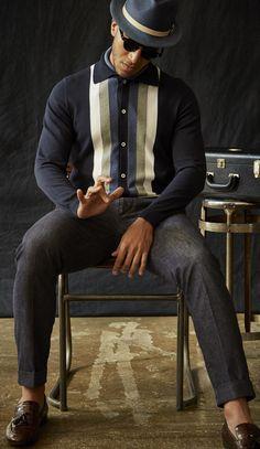 long sleeve knitted shirt Michael Bastian Spring 2017 Menswear Fashion Show Michael Bastian, Dapper Gentleman, Gentleman Style, Gentleman Fashion, Mod Fashion, Fashion Show, Club Fashion, Fashion 101, 1950s Fashion