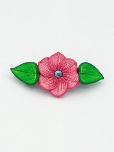 Pink Flower Barrette 3.5 Inches; Spring Blossom; Floral Hair Accessory Fashion; Style No: PIF05 by EmilyMah on Etsy