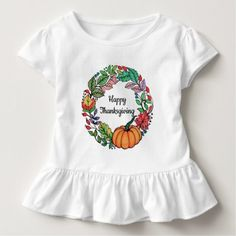 Watercolor Beautiful Pumpkin Wreath with leaves Toddler T-shirt - holidays diy custom design cyo holiday family