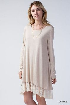 """Shannon"" Lace Trimmed Tunic Dress"