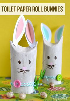 Toilet Paper Roll Bunnies - a cute adult or kid craft for Spring and Easter