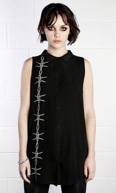 Barbed Shirt #disturbiaclothing disturbia wire metal silver alien goth occult grunge alternative punk