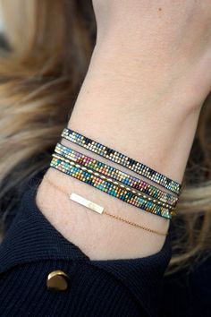 Handmade weave bracelet with Miyuki beads Gold plated image 7 I needed showing you how to make a bracelet with … Bead Loom Bracelets, Beaded Bracelet Patterns, Woven Bracelets, Jewelry Patterns, Handmade Bracelets, Beaded Earrings, Beaded Jewelry, Handmade Jewelry, Etsy Handmade