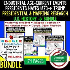 American History Presidential, Mapping Research (Print, Digital, Google) BUNDLE Western Frontier to Modern US History and President Trump   American History Research Graphic Organizers, American History Map Activities, American History Digital Interactive Notebook, American History Presidential Research, American History Summer School