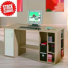 Farneti Computer #Desk With Shelves For the Home Office in Wood Farnetti #Computer Desk With Shelves For the Home Office in Sanoma Oak .Farneti offers a modern solution for your home office. A combination that is particularly handy thanks to the versatile storage space it provides. Dimension: Width: 138 cm Height: 75 cm Depth: 60 cm