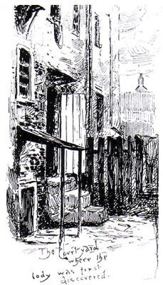 "An illustration titled ""The courtyard where the body was first discovered"", showing the rear yard of 29 Hanbury Street. Note the apparently open palings on the fence immediately beside the murder site, on the far side of the steps down from the back door. The body of the Ripper's 2nd victim, Annie Chapman was discovered here, early hours 8 September 1888."