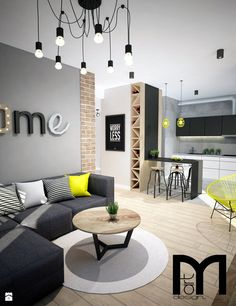 🌟 💖 🌟 💖 dark grey corner sofa, round coffee table with wooden top and yellow accents Home Living Room, Interior Design Living Room, Living Room Designs, Living Room Decor, Interior Decorating, Bedroom Decor, Gray Bedroom, Kitchen Interior, Grey Corner Sofa