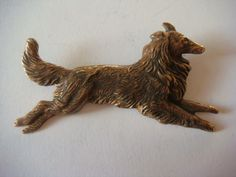"""ButtonArtMuseum.com - Stamped Brass Button Vintage Style Running Collie Dog 2 1 8"""" Metal Buttons, Vintage Buttons, Vintage Style, Vintage Fashion, Button Picture, Bow Wow, Collie Dog, Lion Sculpture, Stamp"""