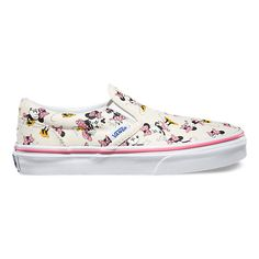 Vans and Disney come together for a magical collaboration that reimagines some of the most beloved and iconic animated characters. Dedicated to those who are young at heart, the Minnie Disney Slip-On combines the iconic Vans low profile slip-on with a custom allover print of Minnie Mouse. The Disney Slip-On also features sturdy canvas uppers with elastic side accents, padded collar and heel counters, and signature waffle rubber outsoles.