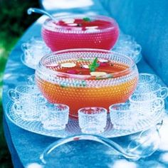 Pink and orange punch bowls