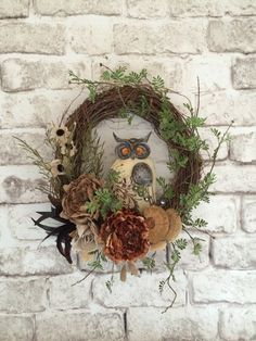 Jewel Owl Wreath Silk Floral Wreath Burlap by AdorabellaWreaths