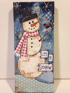 Snowman mixed media let it snow by heartfeltByRobin on Etsy
