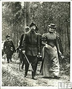 Nicholas II and Empress Alexandra on a hunting trip: c. 1897.