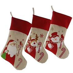 WEWILL Lovely Christmas Stockings Set of 3 Santa, Snowman, Reindeer, Xmas Character Plush Linen Hanging Tag Knit Border, 17 Inch Christmas Party Favors, Christmas Tag, Christmas Stockings, Santa And Reindeer, Xmas Gifts, Gift Bags, Snowman, Plush, Knitting