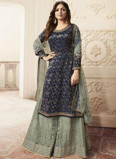 Partywear Designer Embroidery Blue Dola Jaquard Plazzo Suit Pakistani Sharara, Pakistani Dresses, Indian Dresses, Pakistani Party Wear, Indian Suits, Indian Attire, Indian Clothes, Indian Wear, Salwar Kameez