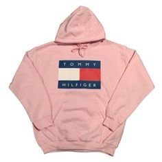 Pink Tommy Hilfiger Logo Hoodie Sweatshirt Vintage 90s Fashion... ❤ liked on Polyvore featuring tops, hoodies, logo top, hooded pullover, logo hoodies, vintage hooded sweatshirt and red hooded sweatshirt