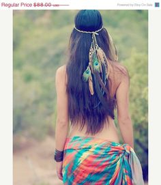 Pre Valentines SALE gaia's daughter... bohemian feather headdress // Spirit tribe, hippie, boho, headress, hair, wedding, holiday, gift, fes