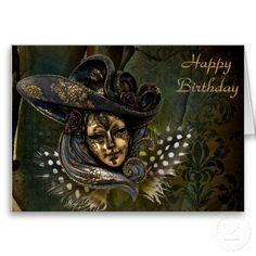 Carnival Mask - Green N Gold Damask Birthday Card