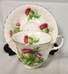 "Preety Royal Albert ""Highland Thistle"" Bone China Cup Saucer | eBay"