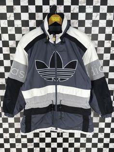 7241994d3ad ADIDAS Bomber Jacket Medium Vintage 80 s Adidas Trefoil Run Dmc Sportwear  Adidas Sports Snow Gear Colorblock Hoodie Parka Coats Size M